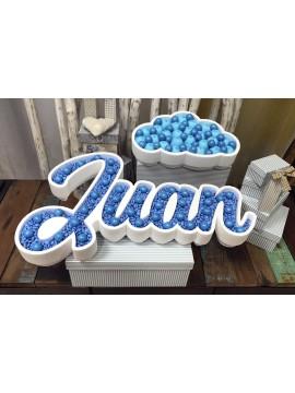 Nombre de corcho para candy bar modelo nube