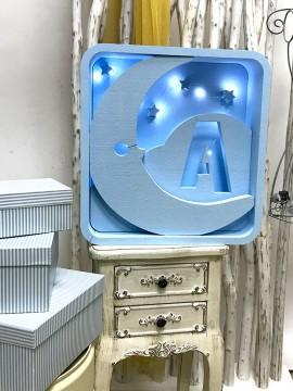 Caja luz de corcho blanco modelo cuadrado