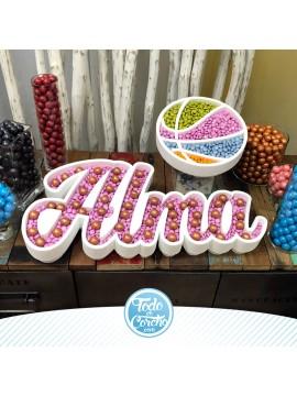 Nombre de corcho para mesas dulces modelo balon